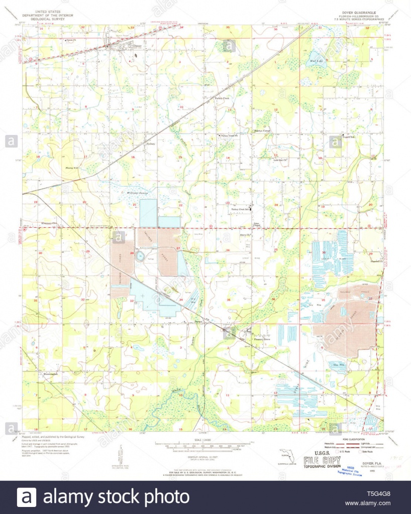Usgs Topo Map Florida Fl Dover 345874 1955 24000 Restoration Stock - Dover Florida Map