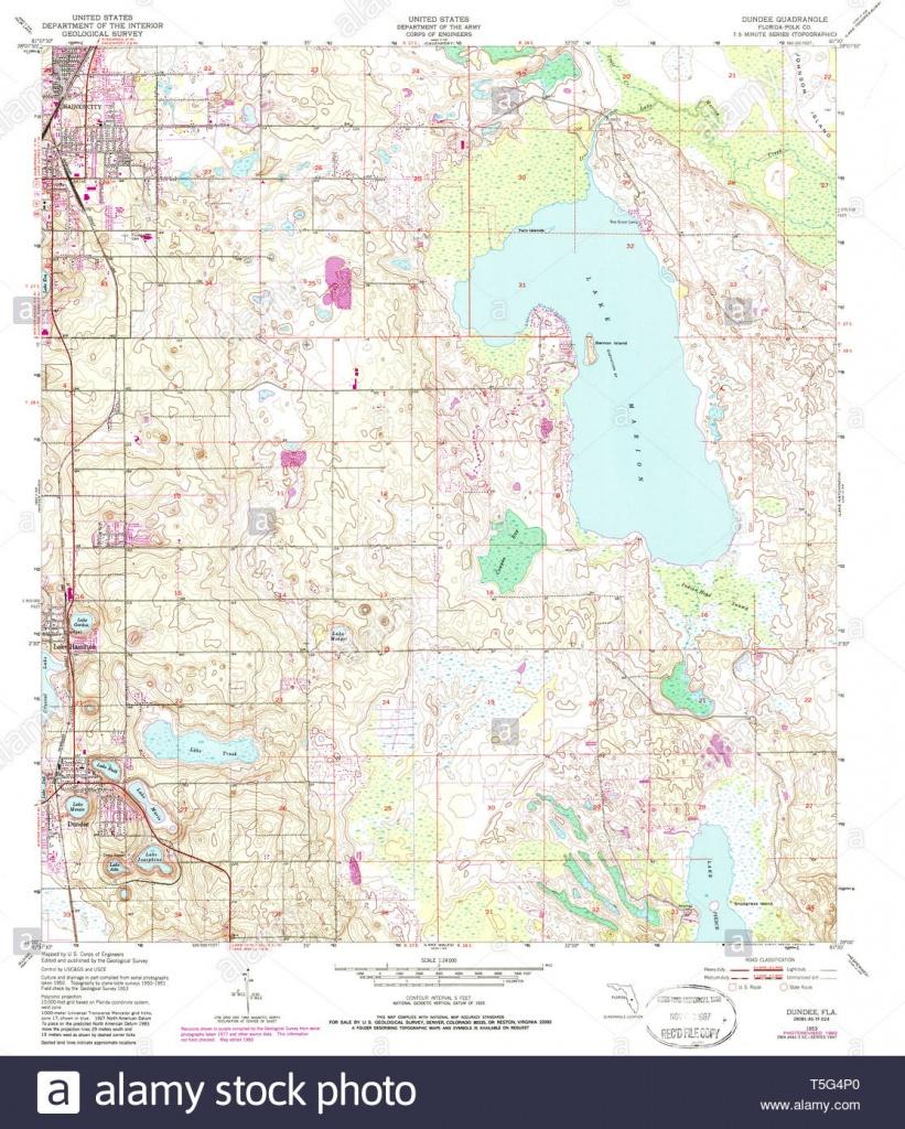 Usgs Topo Map Florida Fl Dundee 345890 1953 24000 Restoration Stock - Dundee Florida Map