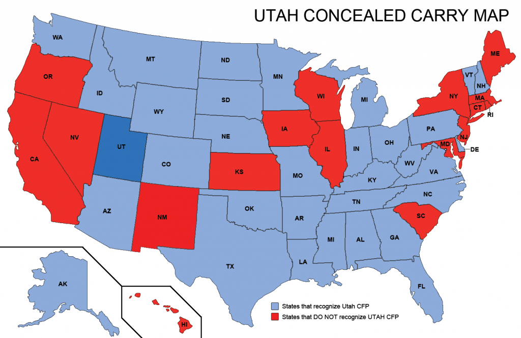 Utah Concealed Weapons Permit Reciprocity Map | Misc | Concealed - Florida Concealed Carry Map