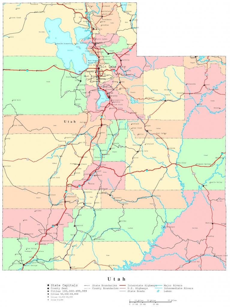 Utah Printable Map - Printable Map Of Utah National Parks