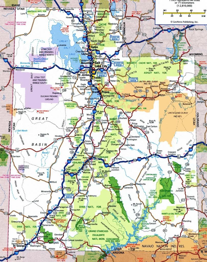 Utah Road Map - Printable Map Of Utah National Parks