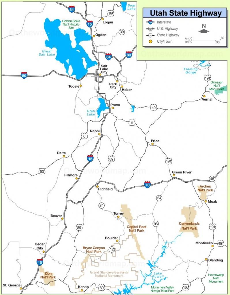 Utah State Maps | Usa | Maps Of Utah (Ut) - Printable Map Of Utah