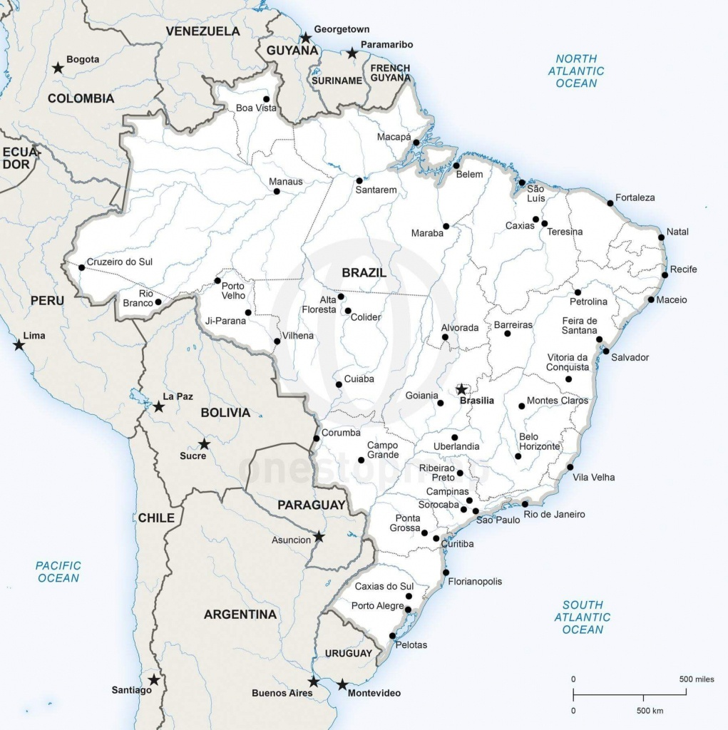 Vector Map Of Brazil Political | One Stop Map - Printable Map Of Brazil