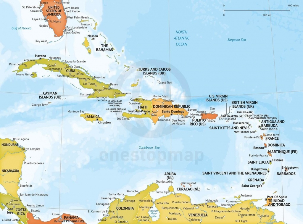 Vector Map Of Caribbean Political Bathymetry | One Stop Map - Printable Map Of The Caribbean