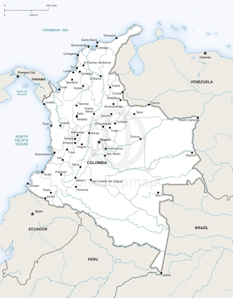 Vector Map Of Colombia Political | One Stop Map - Printable Map Of Colombia