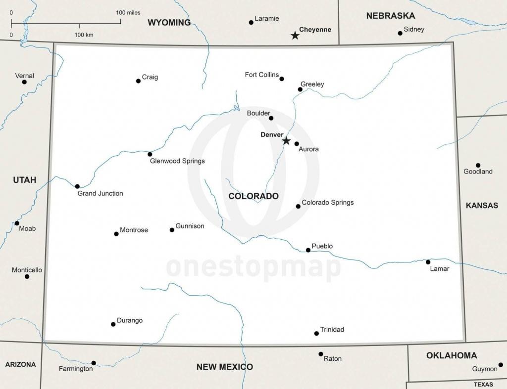 Vector Map Of Colorado Political   One Stop Map - Printable Map Of Colorado Cities