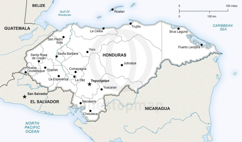 Vector Map Of Honduras Political | One Stop Map - Printable Map Of Honduras