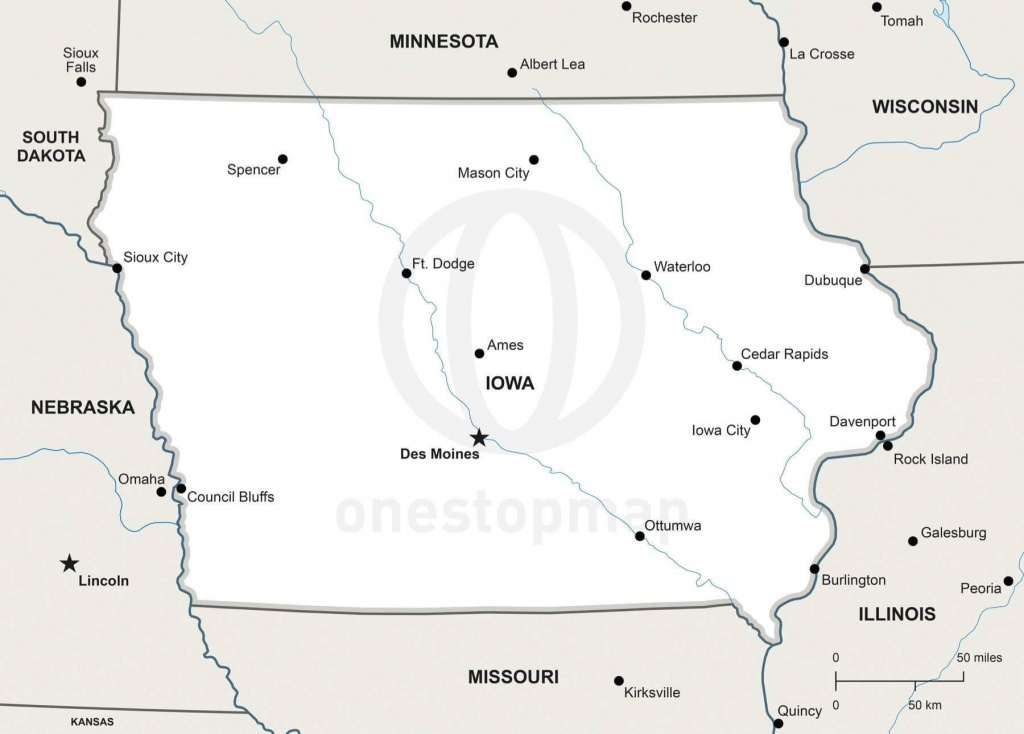 Vector Map Of Iowa Political | One Stop Map - Printable Map Of Iowa