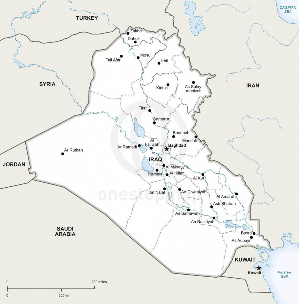 Vector Map Of Iraq Political   One Stop Map - Printable Map Of Iraq