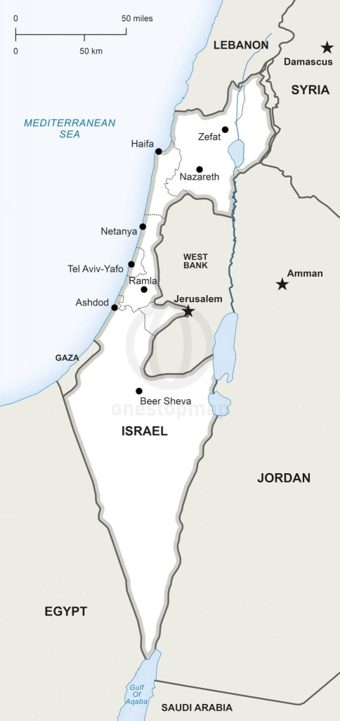 Vector Map Of Israel Political | One Stop Map - Israel Outline Map Printable