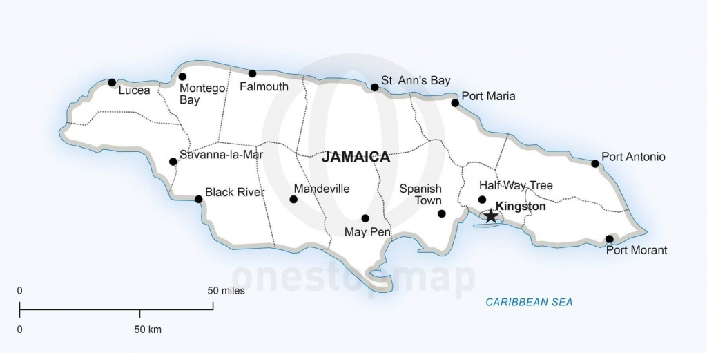 Vector Map Of Jamaica Political | One Stop Map - Printable Map Of Jamaica