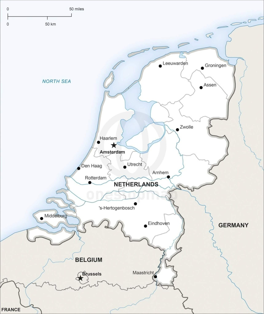 Vector Map Of Netherlands Political | One Stop Map - Printable Map Of Holland
