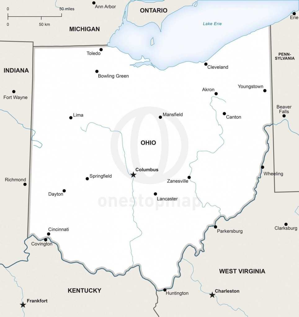 Vector Map Of Ohio Political   One Stop Map - Printable Map Of Ohio