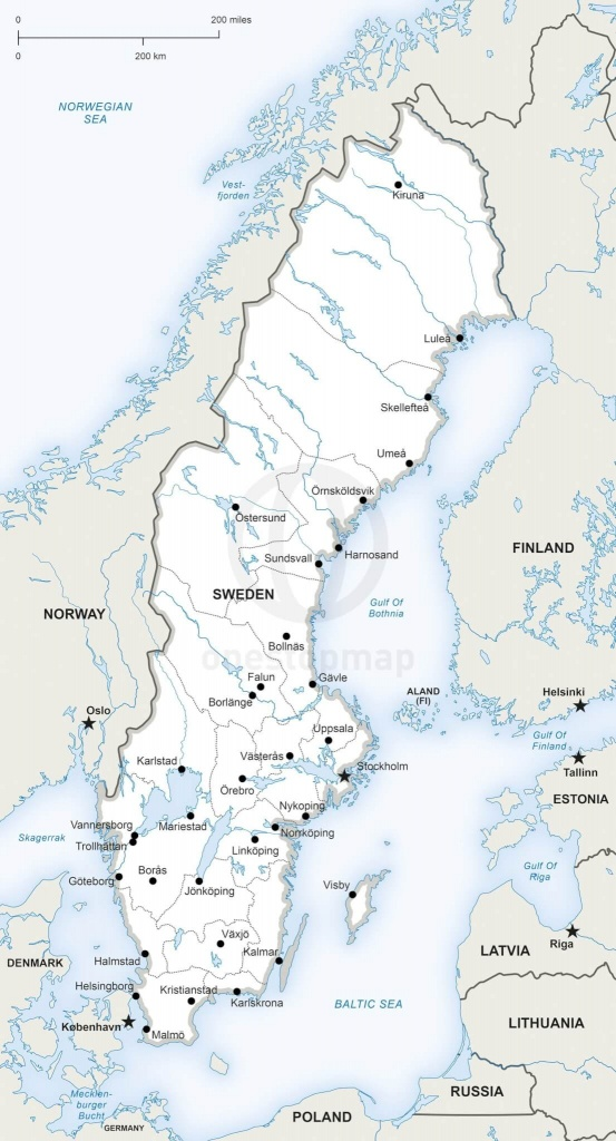 Vector Map Of Sweden Political | One Stop Map - Printable Map Of Sweden