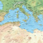 Vector Map Of The Mediterranean, Political With Shaded Relief | One   Mediterranean Map Printable