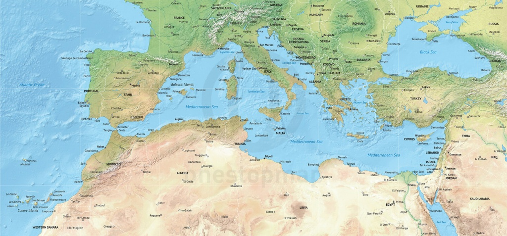 Vector Map Of The Mediterranean, Political With Shaded Relief | One - Mediterranean Map Printable