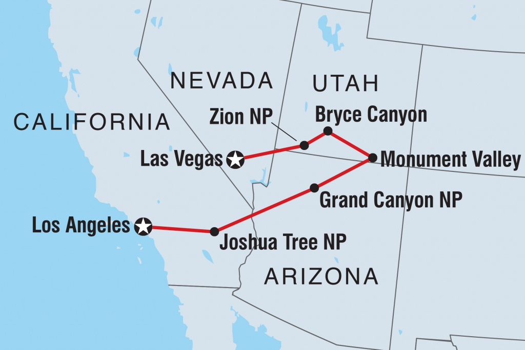 Vegas To La: Grand National Parks   Intrepid Travel Au - Map Of California National Parks And Monuments