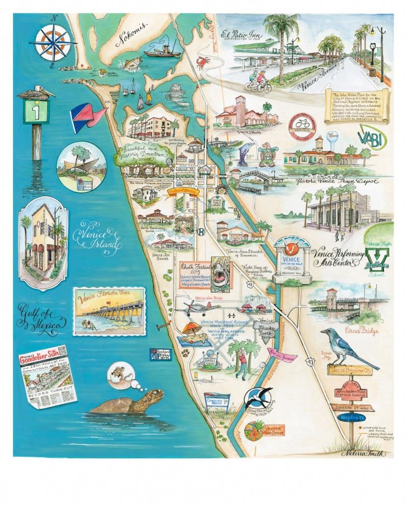 "Venice Fl ""Island Of Venice"" Map - Map Of Florida Art"
