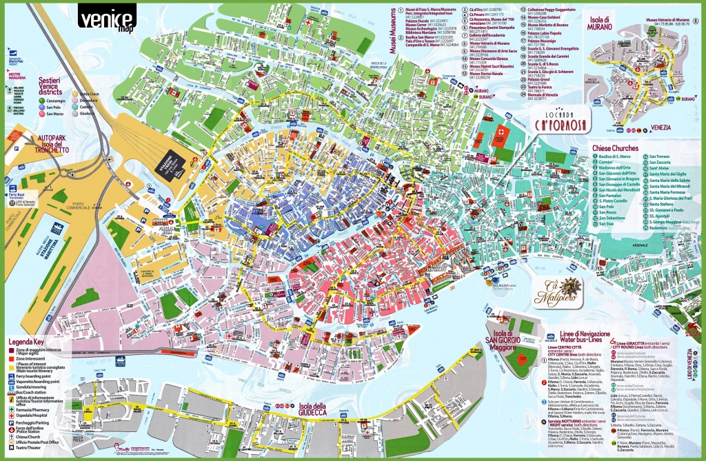 Venice Tourist Attractions Map Spectacular Printable Street Map Of - Street Map Of Venice Italy Printable
