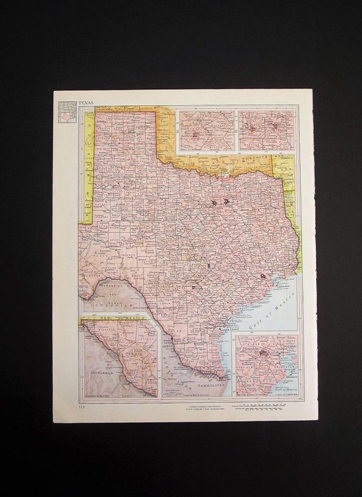 Vintage 1960 Texas Map / Map Wall Art / Office Decor / Texas | Etsy - Old Texas Map Wall Art