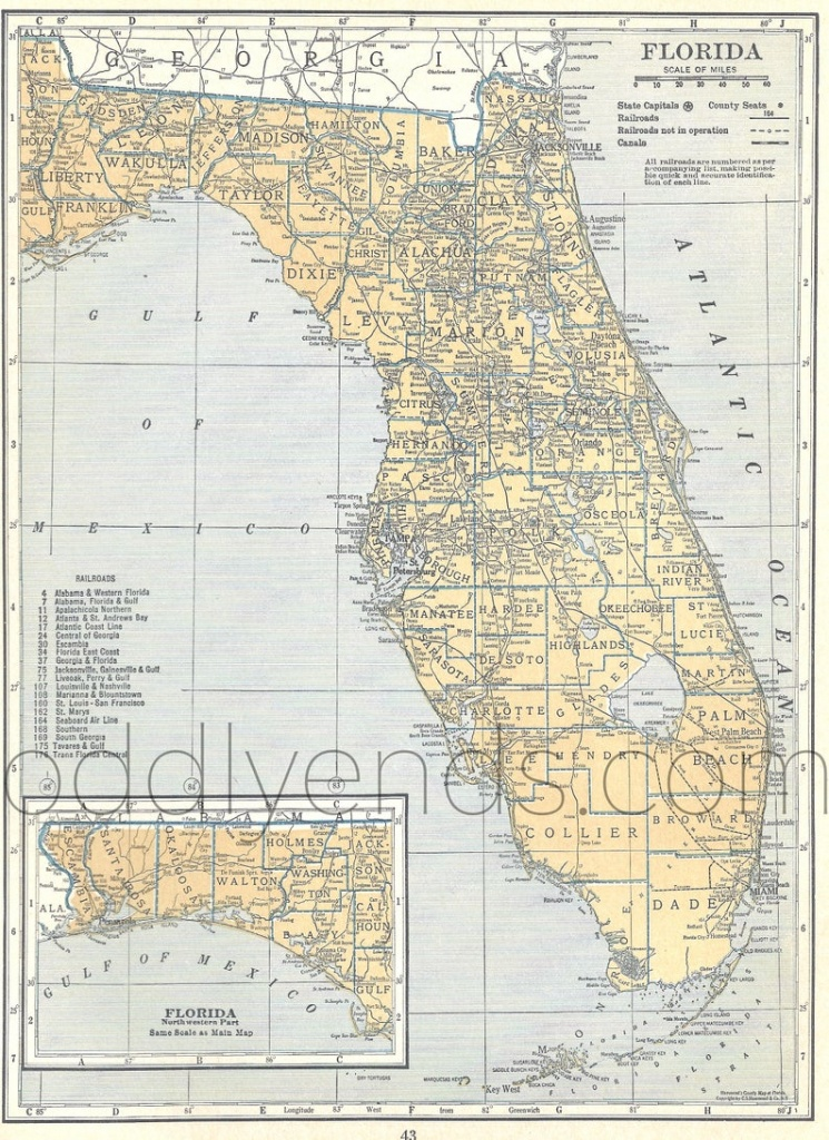 Vintage Florida Map 1939 Original Atlas Antique Map Miami | Etsy - Vintage Florida Map