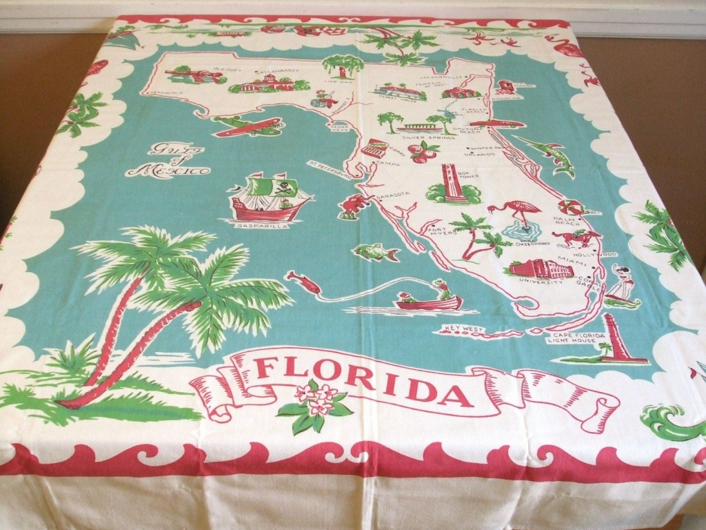 Vintage Florida Map Tablecloth | Mapping Our Worlds | Red Turquoise - Vintage Florida Map Tablecloth