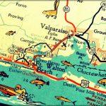 Vintage Map Art Of Destin Florida 8X10 Retro Map Ft Walton Beach   Ft Walton Florida Map