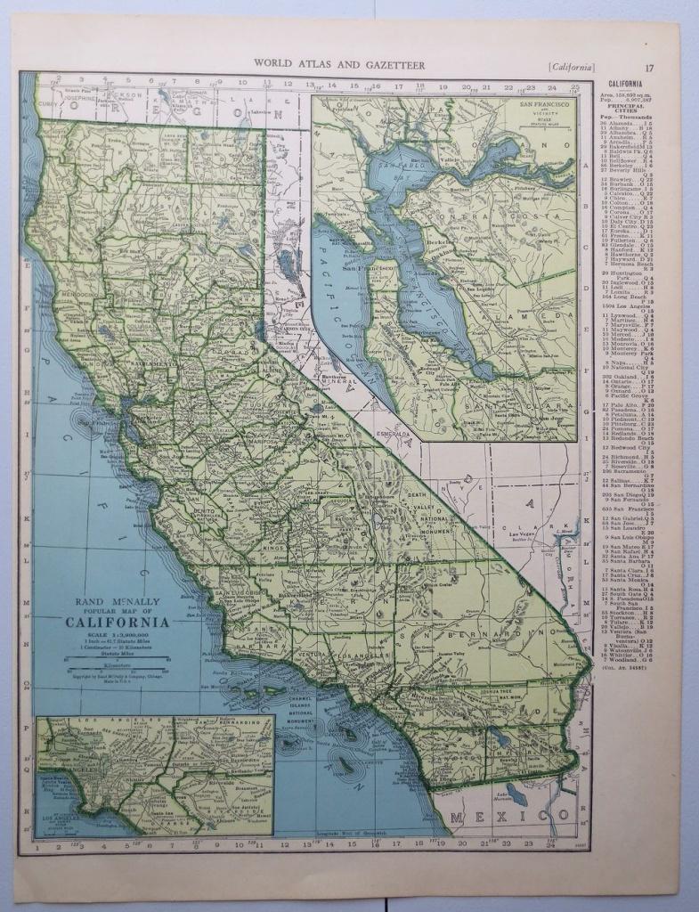 Vintage Map Of California - Map Of Colorado - Wall Decor - California Map Book