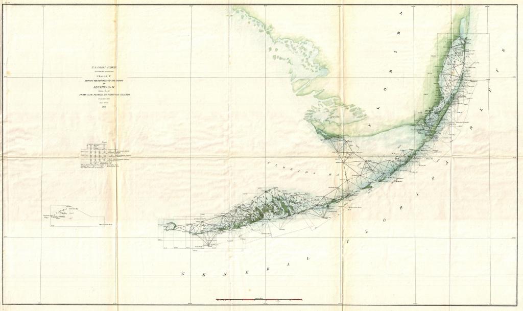 Vintage Map Of Key West - 1895 Us Coast Survey Triangulation   Kw - Florida Keys Map Art