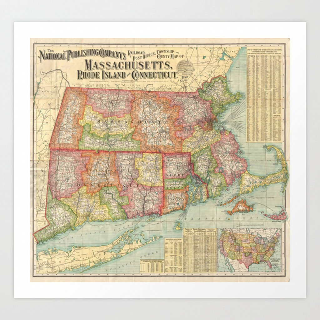 Vintage Map Of New England States (1900) Art Print - Printable Map Of New England States