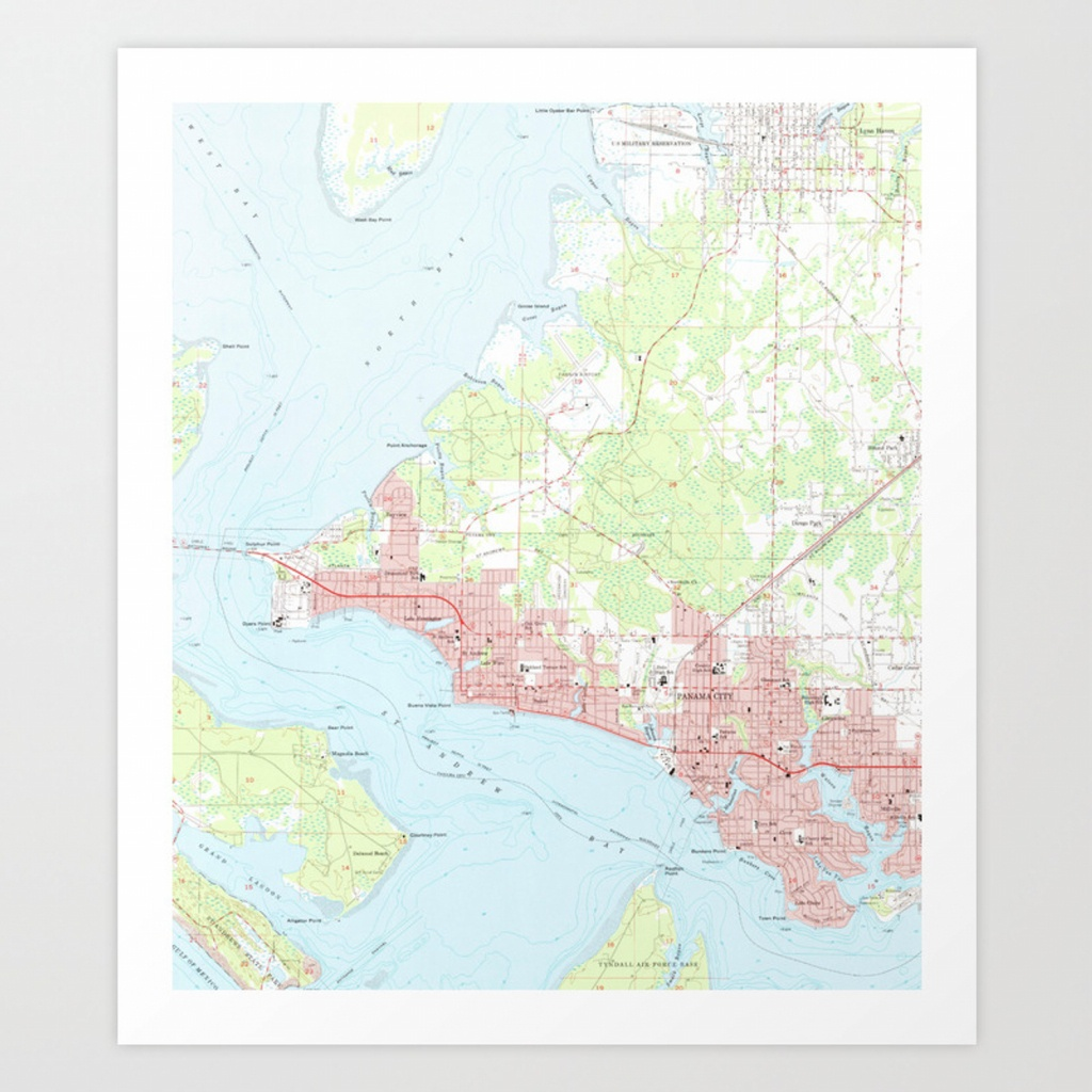 Vintage Map Of Panama City Florida (1956) Art Printbravuramedia - Panama Florida Map