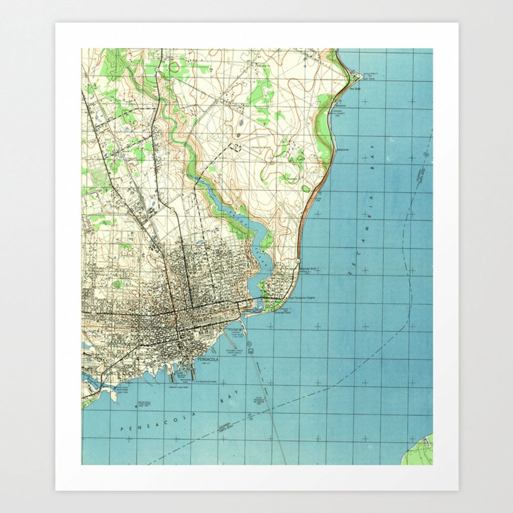 Vintage Map Of Pensacola Florida (1944) Art Printbravuramedia - Printable Map Of Pensacola Florida