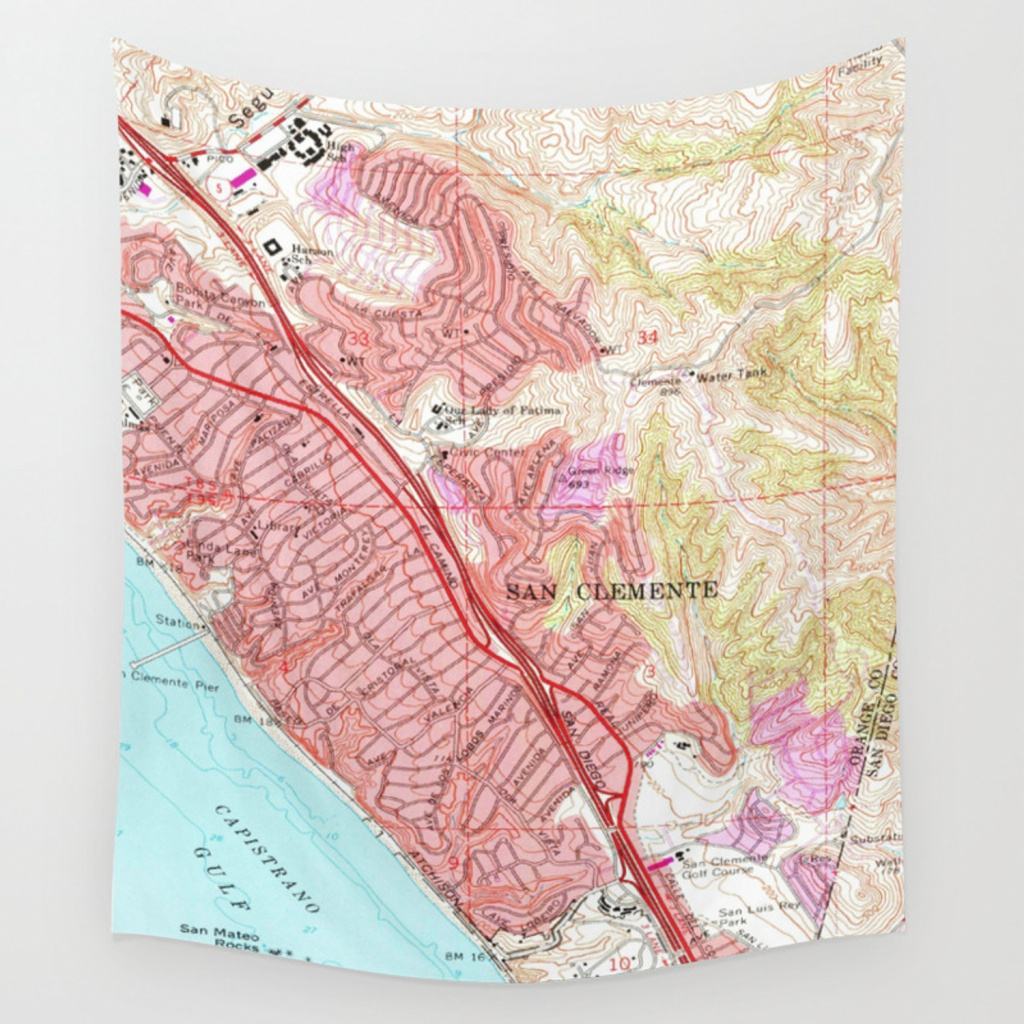 Vintage Map Of San Clemente California (1968) Wall Tapestry - San Clemente California Map