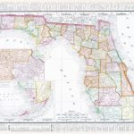 Vintage Map Of The State Of Florida, Usa, 1900   Florida Map 1900