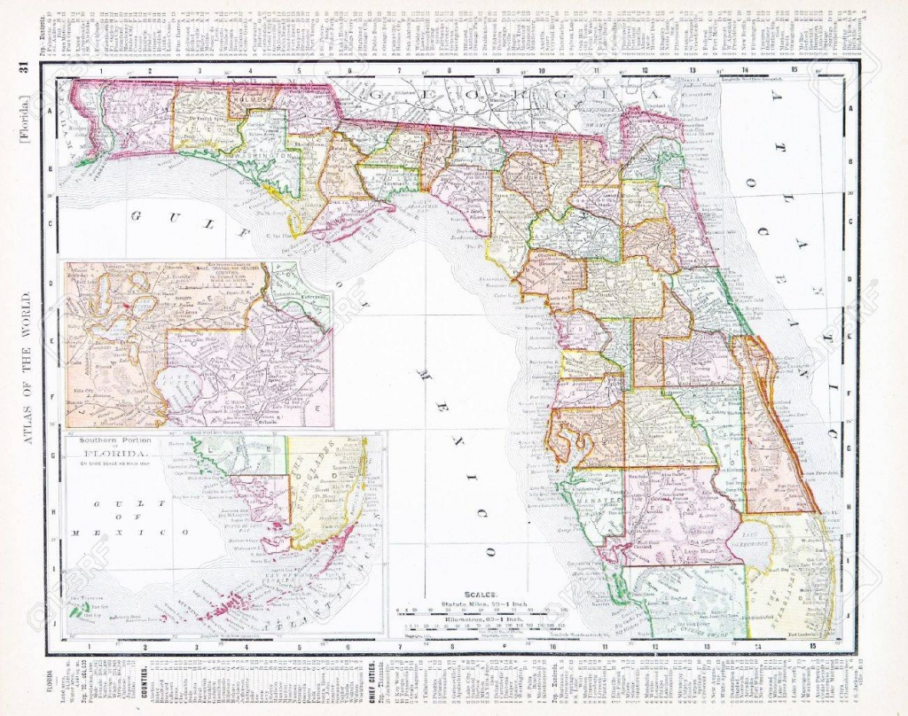 Vintage Map Of The State Of Florida, Usa, 1900 - Florida Map 1900
