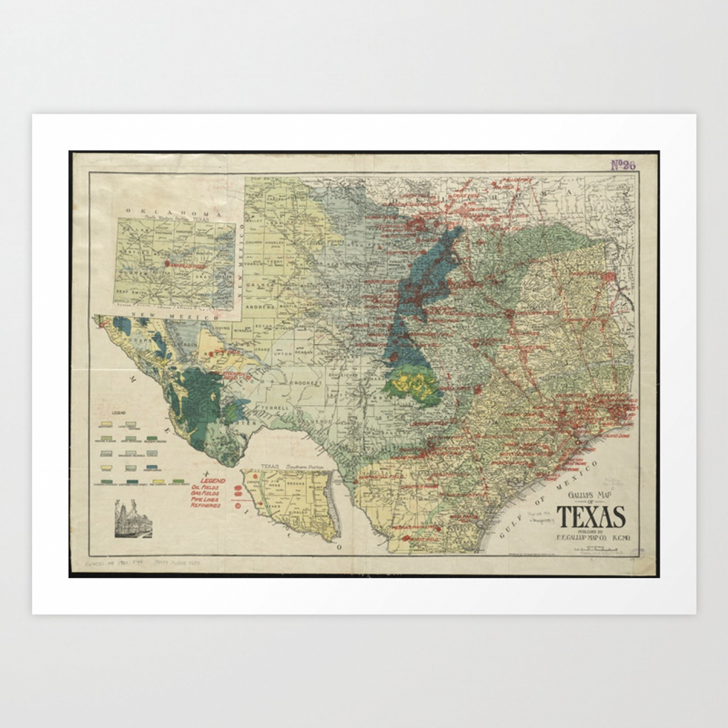 Vintage Map Of The Texas Oil And Gas Fields (1920) Art Print - Vintage Texas Map Prints