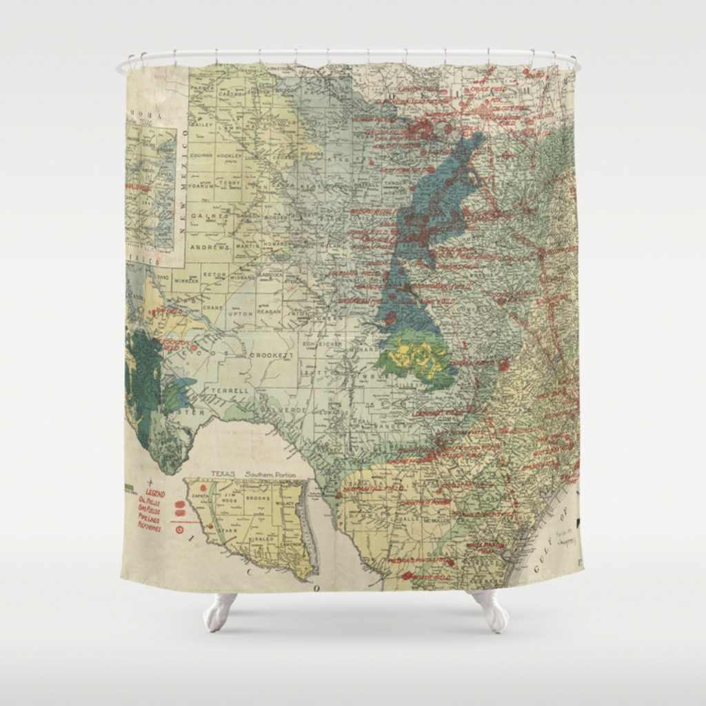 Vintage Map Of The Texas Oil And Gas Fields (1920) Shower Curtain - Texas Map Shower Curtain