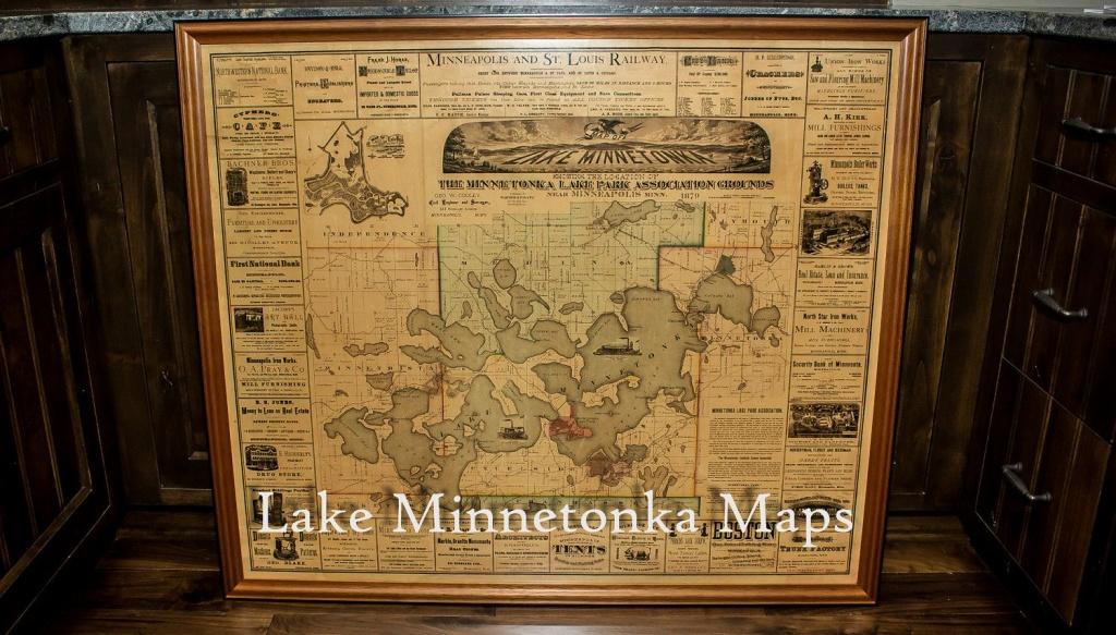 Vintage Rare Framed Map Of Lake Minnetonka Dating Back To 1879 - Printable Lake Minnetonka Map