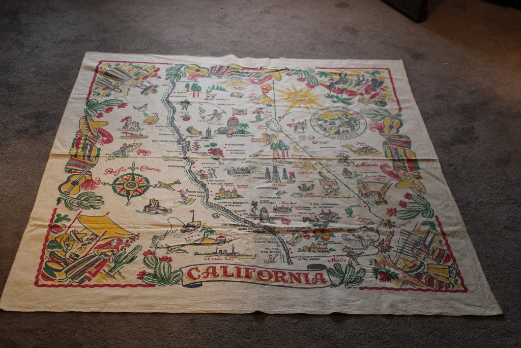 Vintage Tablecloth State Of California Map 1940's Colorful Fiesta - Vintage California Map Tablecloth