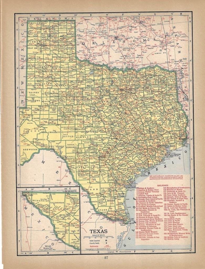 Vintage Texas Map 1944 Wall Art Sepia Map | Etsy - Vintage Texas Map