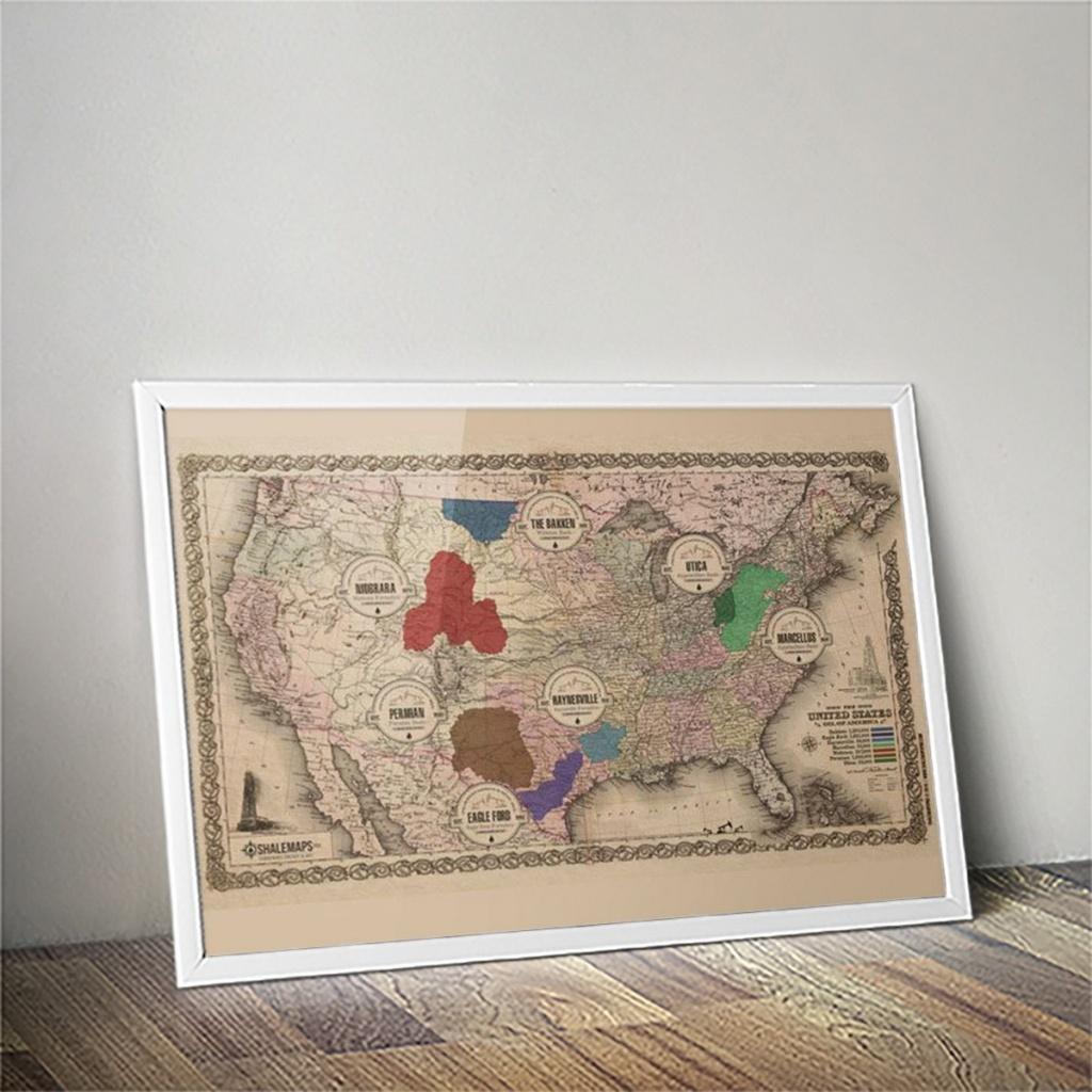 Vintage Texas Shale Oil Map: Pro Edition | Shale Maps Pro - Texas Map Canvas