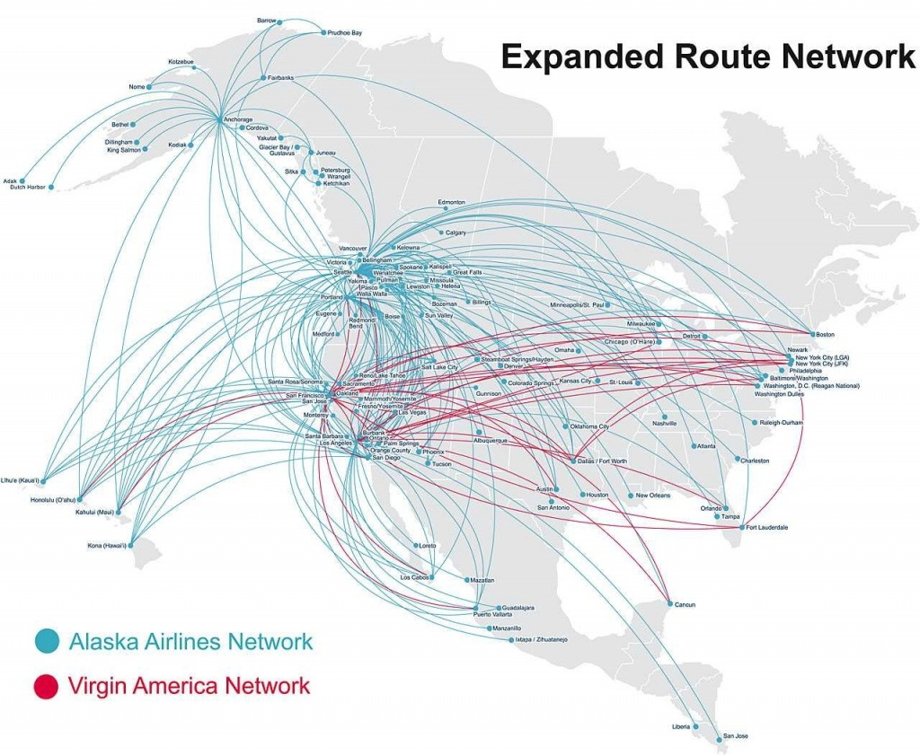 Virgin America Route Map Alaska Airlines At Flight Nextread Me - Alaska Airlines Printable Route Map