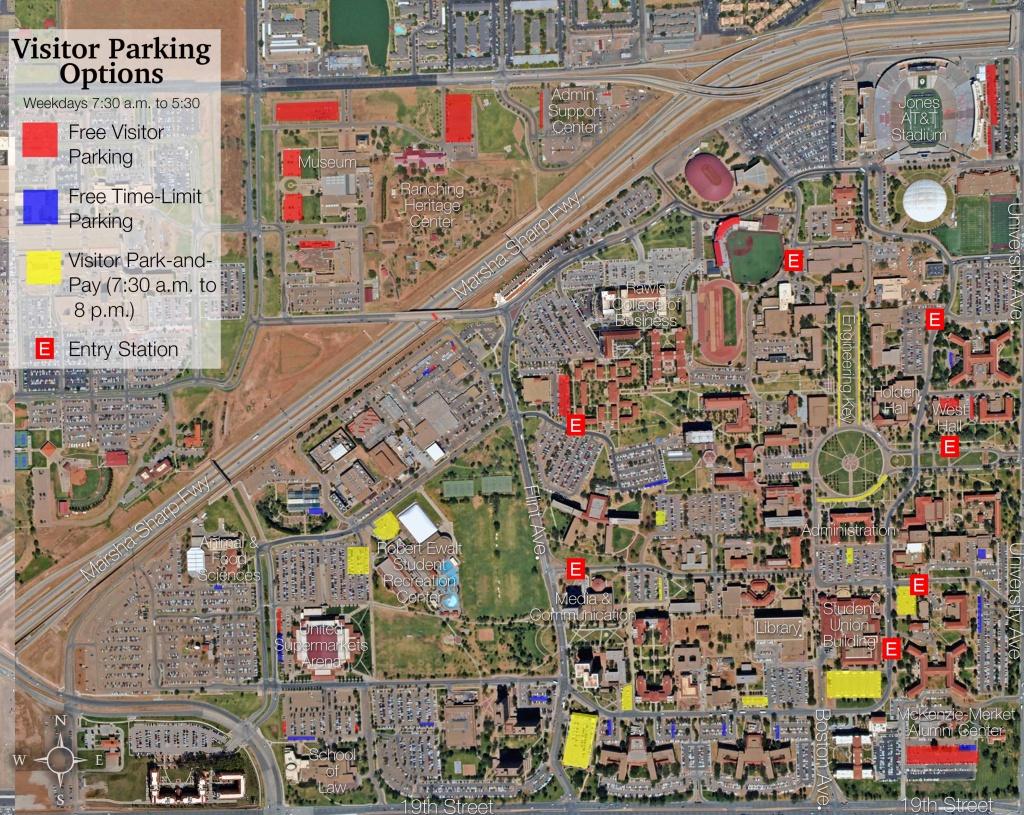 Visitor Parking Map | Transportation & Parking Services | Ttu - Texas Tech Football Parking Map 2017