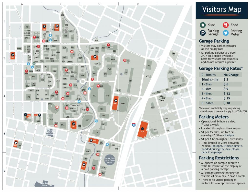 Visitor's Map | Parking & Transportation | The University Of Texas - Printable Map Of Austin Tx