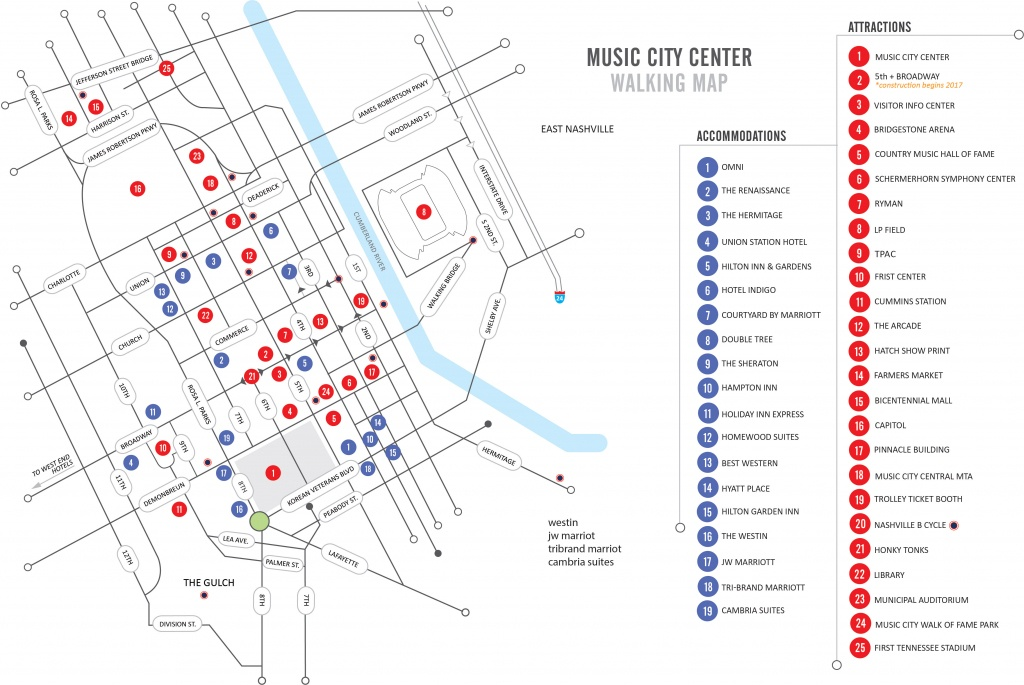 Walking Map | Nashvillemusiccitycenter - Printable Map Of Nashville