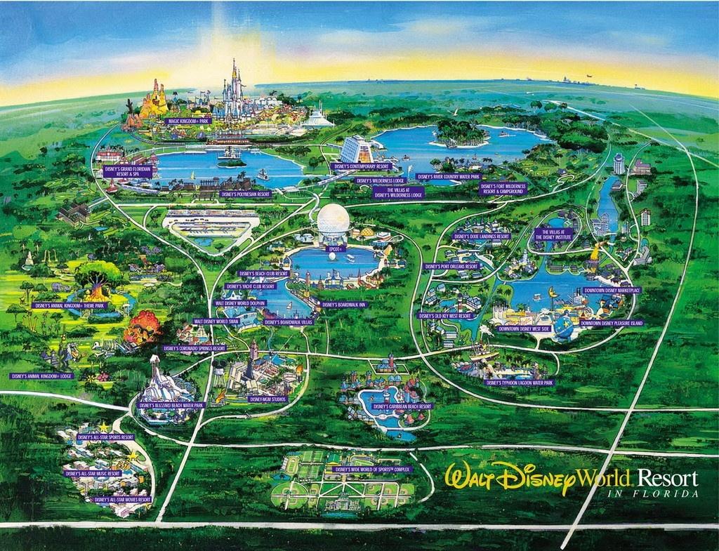 Walt Disney World Map Orlando Florida 7 - World Wide Maps - Map Of Florida Showing Disney World