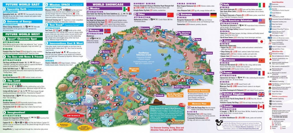 Walt Disney World Park And Resort Maps - Epcot Guidemap January 2013 - Epcot Park Map Printable