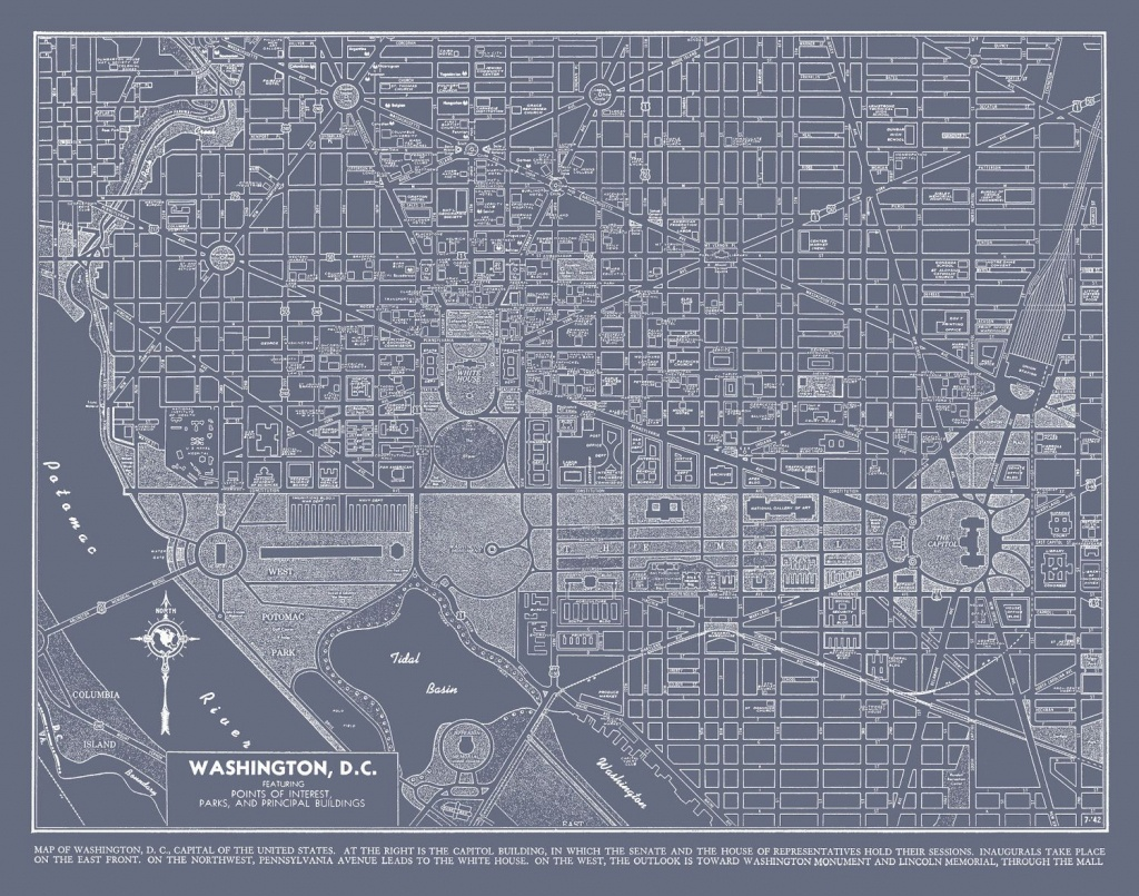 Washington Dc Street Map Vintage Gray Map Print Poster   Maps - Washington Dc City Map Printable