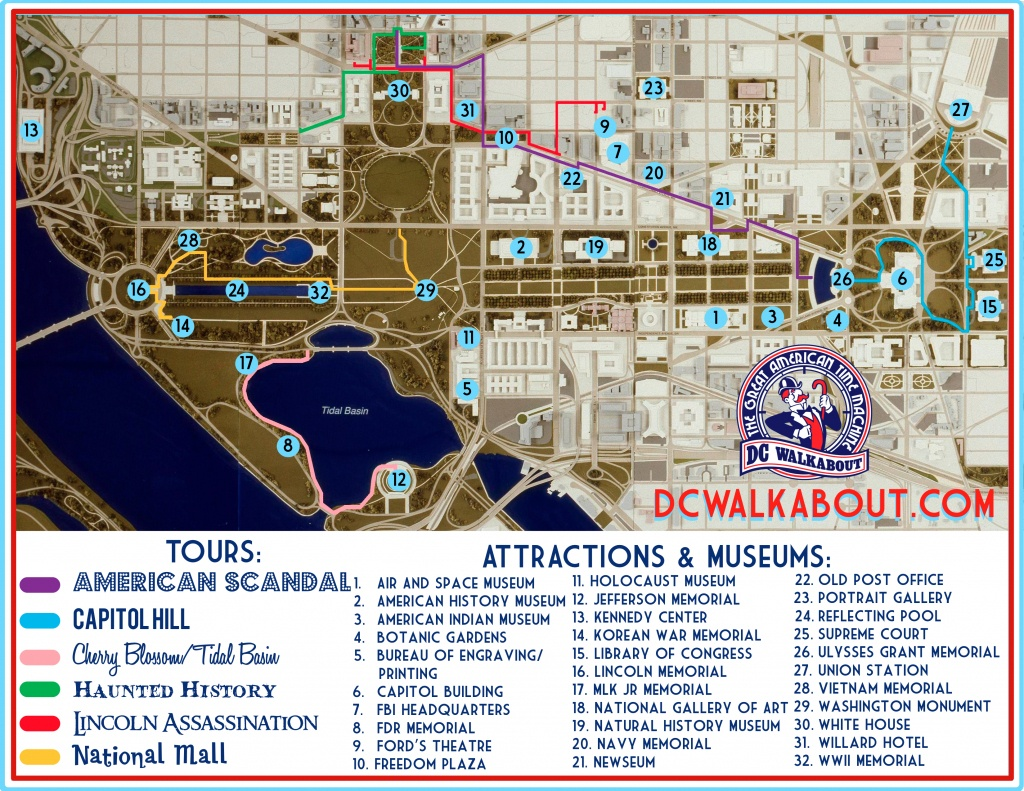 Washington Dc Tourist Map   Tours & Attractions   Dc Walkabout - Printable Map Of Washington Dc Sites