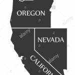 Washington   Oregon   Nevada   California Map Labelled Black Stock   California Oregon Washington Map